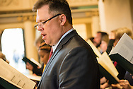 Mark Hofman, executive director of LCMS Mission Advancement, sings during the Festival Dedication Service at the Town and Parish Church of St. Mary's before the dedication of The International Lutheran Center at the Old Latin School on Sunday, May 3, 2015, in Wittenberg, Germany. LCMS Communications/Erik M. Lunsford
