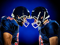 two american football players men isolated on colorful black background