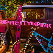 Heather Goodrich poses for a photo highlighting Wagner Custom Skis and Santa Cruz Bicycles in Jackson, Wyoming.