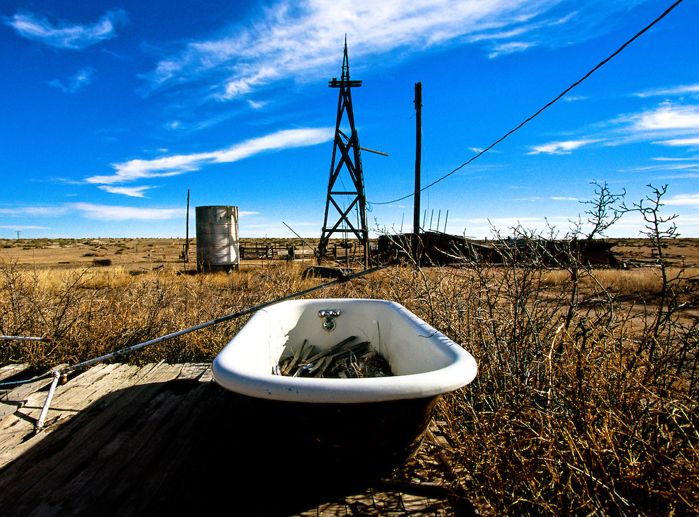 A a bathtub sits exposed to the elements on an old homestead in eastern Colorado
