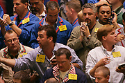 New York, NY, USA, 2004.08.19: Traders on the trade floor of the New York Mercantile Exhange, NYMEX, trading in crude oil. The oil prices hit a record high on thursday, jumping  $1.48 to $48.75 a barrel.....Michael Visconti (VSKO) trades crude oil.....Photo: Orjan F. Ellingvag/ Dagens Naringsliv/ Corbis