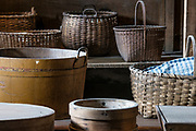 Variety of Shaker baskets, Hancock Shaker Village, Massachusetts, USA.