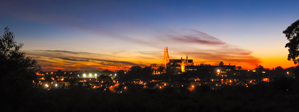 Sunset overlooking the city of Armagh including the Protestant and Roman Catholic St. Patrick's Cathedrals.<br /> <br /> This shot was taken on my compact so I'm afraid to say it is only available in a limited range of sizes.