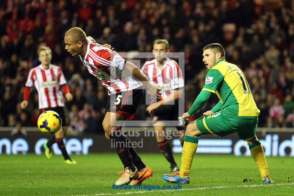 Picture by Paul Chesterton/Focus Images Ltd +44 7904 640267<br /> 21/12/2013<br /> Sunderland's Wes Brown and Gary Hooper of Norwich in action during the Barclays Premier League match at the Stadium Of Light, Sunderland.
