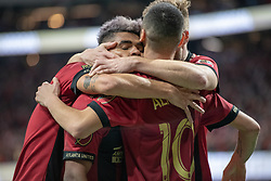 December 8, 2018 - Atlanta, Georgia, United States - Atlanta United midfielder MIGUEL ALMIRON (10) celebrates a goal with  Atlanta United forward JOSEF MARTINEZ (7) during the MLS Cup at Mercedes-Benz Stadium in Atlanta, Georgia.  Atlanta United defeats Portland Timbers 2-0 (Credit Image: © Mark Smith/ZUMA Wire)
