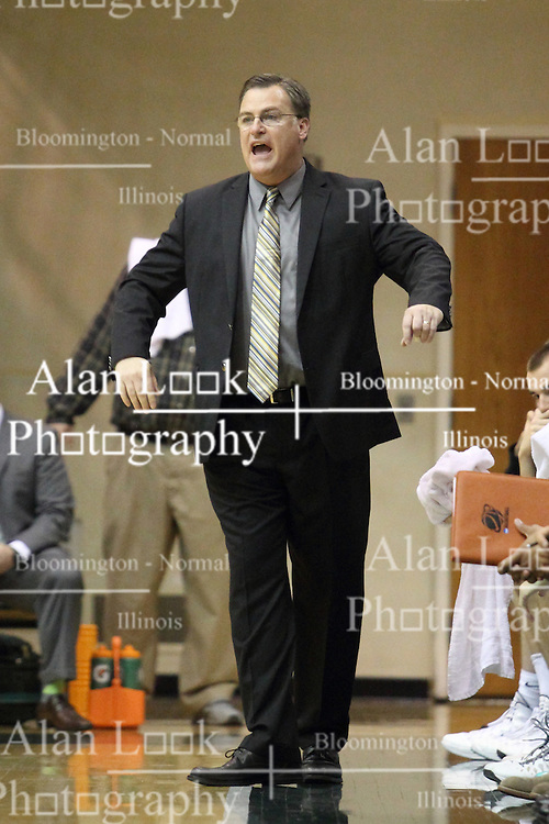 16 November 2013:  Ron rose gets a bit excited during an NCAA mens division 3 basketball game between the Aurora University Spartans and the Illinois Wesleyan Titans in Shirk Center, Bloomington IL