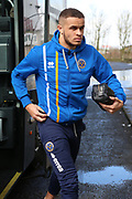 Shrewsbury Town forward Carlton Morris (9) gets off the tea m coach prior to the EFL Sky Bet League 1 match between Scunthorpe United and Shrewsbury Town at Glanford Park, Scunthorpe, England on 17 March 2018. Picture by Mick Atkins.