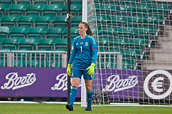 NEWPORT, WALES - Tuesday, September 3, 2019: Wales' goalkeeper Laura O'Sullivan looks dejected as Northern Ireland score the opening goal during the UEFA Women Euro 2021 Qualifying Group C match between Wales and Northern Ireland at Rodney Parade. (Pic by David Rawcliffe/Propaganda)