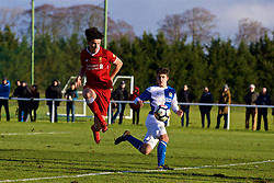 BLACKBURN, ENGLAND - Saturday, January 6, 2018: Liverpool's Curtis Jones misses a chance during an Under-18 FA Premier League match between Blackburn Rovers FC and Liverpool FC at Brockhall Village Training Ground. (Pic by David Rawcliffe/Propaganda)