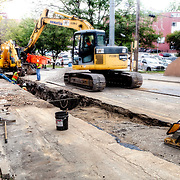 Streetcar construction prepartion work in the River Market area, downtown Kansas City, MO. 5th & Delaware Streets.