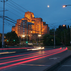 The Amazon.com world headquarters building atop Beacon Hill in Seattle, Washington.