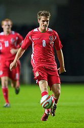 SWANSEA, ENGLAND - Friday, September 4, 2009: Wales' Aaron Ramsey in action against Italy during the UEFA Under 21 Championship Qualifying Group 3 match at the Liberty Stadium. (Photo by David Rawcliffe/Propaganda)