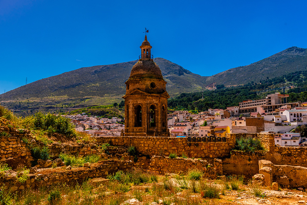 Bell tower, Church of the Incarnation, Loja, Granada Province, Andalusia, Spain.
