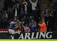 Photo: Lee Earle.<br /> Portsmouth v Leeds United. Carling Cup. 28/08/2007.The Portsmouth fans celebrate with David Nugent after he scored their third goal.