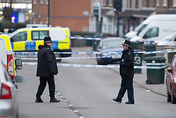 © Licensed to London News Pictures. 05/01/2019. Coventry, West Midlands UK. Burnaby Road, north Coventry where police have shot dead a man. Photo credit: Dave Warren/LNP