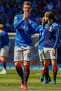 Jon Flanagan of Rangers FC applauds the fans following their victory during the Ladbrokes Scottish Premiership match between Rangers and Celtic at Ibrox, Glasgow, Scotland on 12 May 2019.