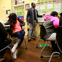 Thomas Wells | BUY AT PHOTOS.DJOURNAL.COM<br /> Marcus Montgomery gets students at Milam Elementary School to understand how the use of the voice can influence how poetry is understood.