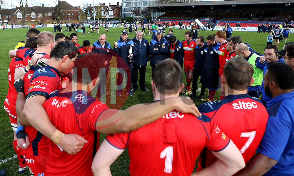 Bristol Rugby huddle at full time - Mandatory by-line: Robbie Stephenson/JMP - 23/04/2016 - RUGBY - Goldrington Road - Bedford, England - Bedford Blues v Bristol Rugby - Greene King IPA Championship
