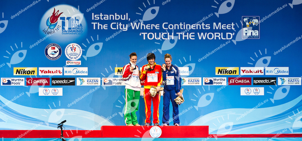 YE Shiwen CHN  Gold Medal  CR.HOSSZU Katinka HUN  Silver Medal.MILEY Hannah GBR   Bronze Medal.Women 200m Individual Medley.FINA World Short Course Swimming Championships.Istanbul Turkey 12 - 16 Dec. 2012.Day 04.Photo G.Scala/Deepbluemedia/Inside