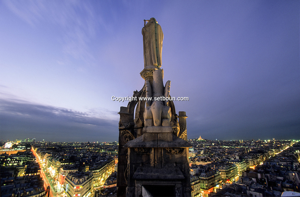 France. Paris. elevated view. saint jaques watching paris ,. vu de la tour st Jacques