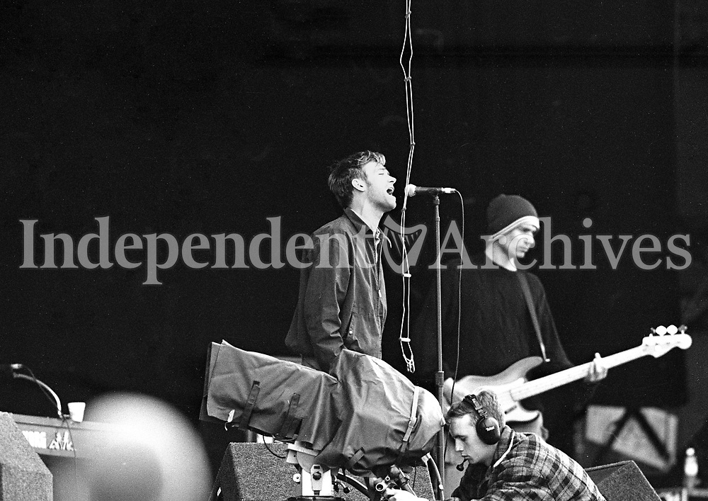 Blur rehearsing in the RDS, Dublin ahead of the Concert, 21/06/1996 (Part of the Independent Newspapers Ireland/NLI Collection).