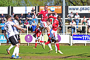 Wrexham Forward Jordan White heads for goal during the Vanarama National League match between Bromley FC and Wrexham FC at Hayes Lane, Bromley, United Kingdom on 8 April 2017. Photo by Jon Bromley.