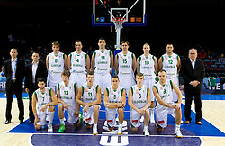 Group photo of Slovenia team; 1st line (from L): Saso Ozbolt, Zoran Dragic, Goran Dragic, Jaka Lakovic, Luka Rupnik, Samo Udrih; 2nd line: Gasper Potocnik, Aleksander Sekulic, Matjaz Smodis, Uros Slokar, Mirza Begic, Erazem Lorbek, Edo Muric, Goran Jagodnik and head coach Bozidar Maljkovic during basketball match between National teams of Slovenia and Bulgaria in Group D of Preliminary Round of Eurobasket Lithuania 2011, on August 31, 2011, in Arena Svyturio, Klaipeda, Lithuania.   Slovenia defeated Bulgaria 67 - 59. (Photo by Vid Ponikvar / Sportida)