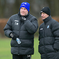 St Johnstone manager Tommy Wright pictured with first team coach Alec Cleland during training this morning ahaed of Saturday's League Cup semi-final against Aberdeen...28.01.14<br /> Picture by Graeme Hart.<br /> Copyright Perthshire Picture Agency<br /> Tel: 01738 623350  Mobile: 07990 594431