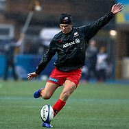 Owen Farrell of Saracens during the pre match warm up<br /> <br /> Photographer Simon King/Replay Images<br /> <br /> European Rugby Champions Cup Round 4 - Cardiff Blues v Saracens - Saturday 15th December 2018 - Cardiff Arms Park - Cardiff<br /> <br /> World Copyright © Replay Images . All rights reserved. info@replayimages.co.uk - http://replayimages.co.uk
