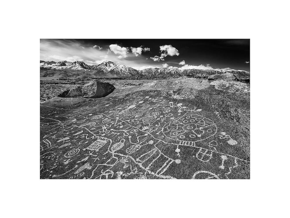 Sky Rock Petroglyph -  Eastern Sierras, CA - Infrared Black & White
