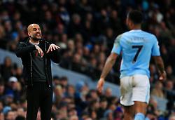 Manchester City manager Pep Guardiola gestures towrads Raheem Sterling - Mandatory by-line: Matt McNulty/JMP - 10/02/2018 - FOOTBALL - Etihad Stadium - Manchester, England - Manchester City v Leicester City - Premier League