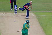 England womens cricket player Katherine Brunt delivery gets Pakistan womens cricket player Bibi Nahida out caught during the ICC Women's World Cup match between England and Pakistan at the Fischer County Ground, Grace Road, Leicester, United Kingdom on 27 June 2017. Photo by Simon Davies.