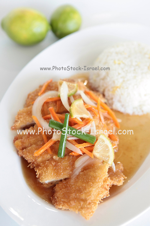 Fried Breaded Chicken Breast with lemon
