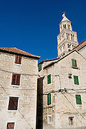 Houses and cathedral bell tower, Diocletian's Palace, Split, Croatia
