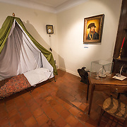 The room used by Napoleon, filled with souvenirs and personal affects that belonged to the Emporer. On the back wall is Napoleon's camp bed. The bed folded up and could be transported easily on the back of a mule or horse. Next to the field where the Battle of Waterloo took place in 1815, the Ferne du Caillou is famous as the place where Napoleon spent the night before the battle. It is now a museum.
