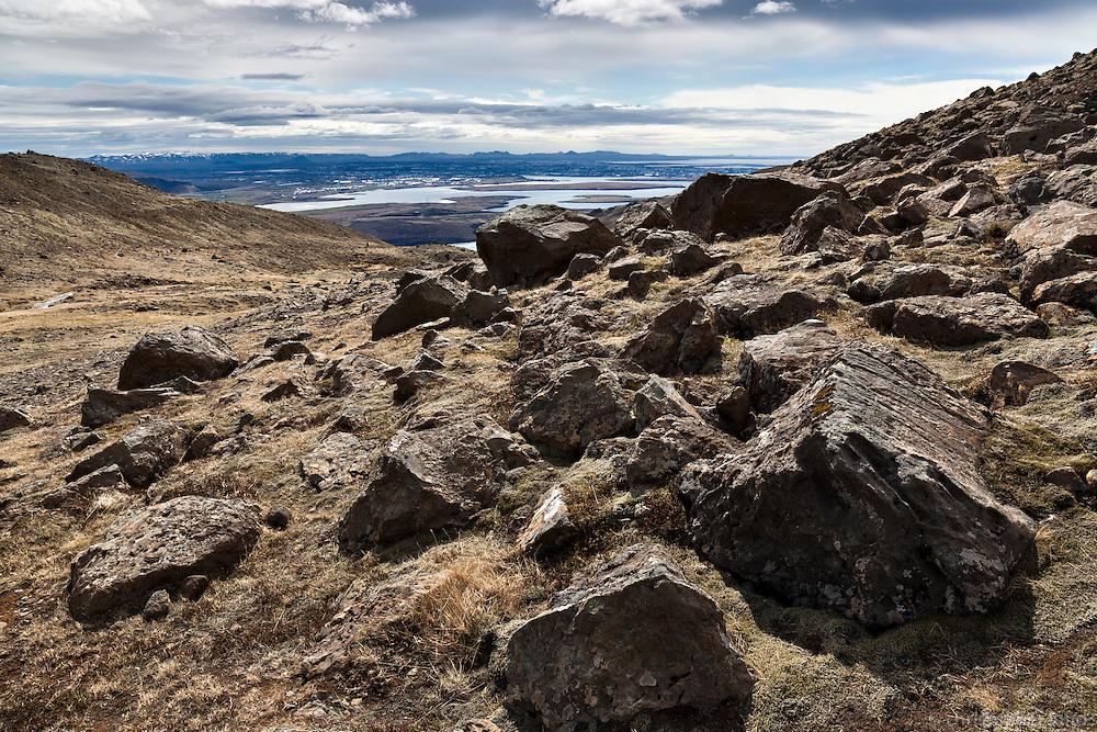 Boulders on Mount Esja, North of Reykjavik, Iceland. Stórgrýti á Esjunni.