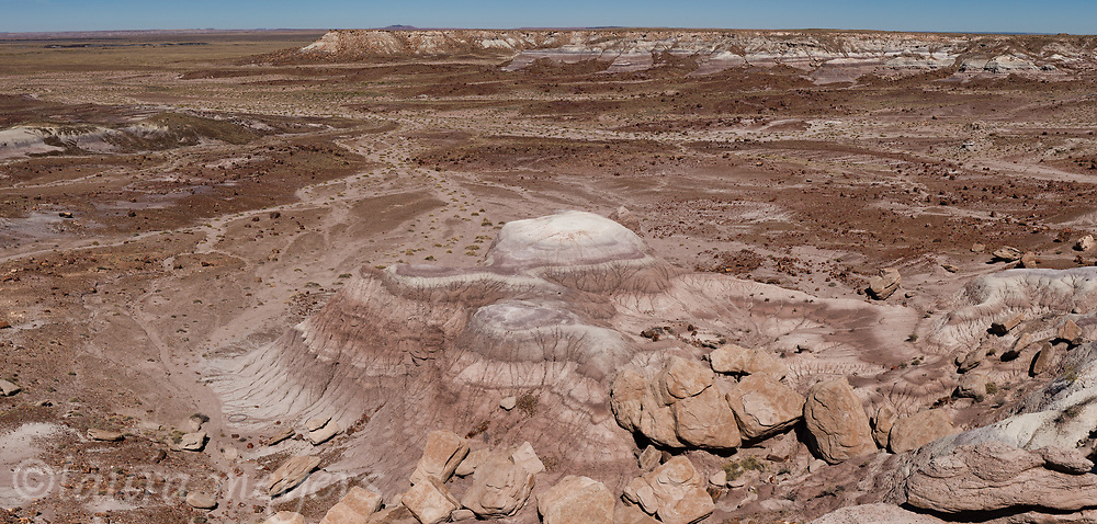 Wide angle look at the Petrified Forest National Park in Arizona