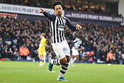 West Bromwich Albion midfielder (on loan from Sporting Lisbon) Matheus Pereira (12) scores a goal and celebrates  2-0 during the EFL Sky Bet Championship match between West Bromwich Albion and Swansea City at The Hawthorns, West Bromwich, England on 8 December 2019.