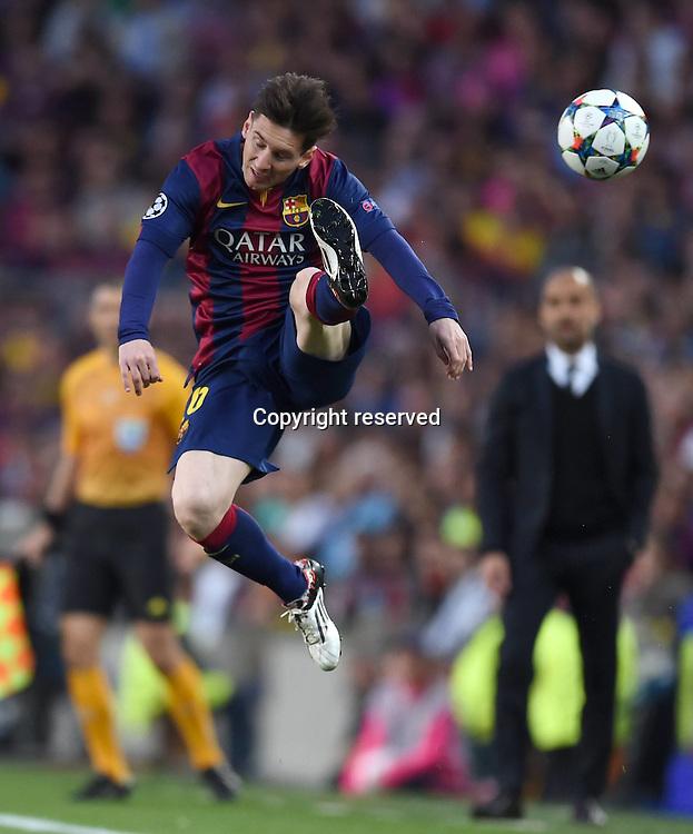 06.05.2015. Nou Camp, Barcelona, Spain, UEFA Champions League semi-final. Barcelona versus Bayern Munich.  Lionel Messi (Barca) on the ball