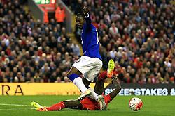 Mamadou Sakho of Liverpool tackles Everton's Romelu Lukaku  - Mandatory by-line: Matt McNulty/JMP - 20/04/2016 - FOOTBALL - Anfield - Liverpool, England - Liverpool v Everton - Barclays Premier League