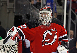 February 1, 2008; Newark, NJ, USA; New Jersey Devils goalie Martin Brodeur (30) spits out water before the start of the Devils game against the New York Rangers at the Prudential Center in Newark, NJ.