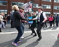 Caroline Ford and Amanda Lyons[ right] from Kildare pictured dancing a jig with Lisa and Gene McCarthy from the US during ther C&eacute;il&iacute; M&oacute;r on Dublin's Earlsfort Terrace.Picture Credit; Frank Mc Grath<br /> 28/3/16