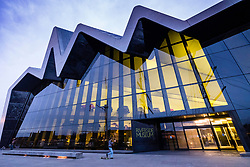 Evening exterior view of Riverside Museum, home of transport museum, in Glasgow, Scotland, united Kingdom