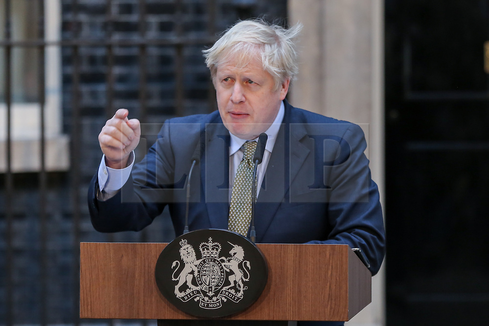 © Licensed to London News Pictures. 13/12/2019. London, UK. British Prime Minister and leader of the Conservative Party, BORIS JOHNSON, delivers a statement outside 10 Downing Street after asking Queen Elizabeth II to form a Government, as the Conservative Party wins a majority in the General Election 2019. Photo credit: Dinendra Haria/LNP