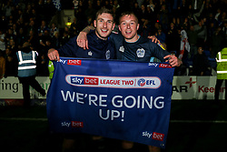 Danny Mayor of Bury and Nicky Adams of Bury celebrates after the final whistle of the match - Mandatory by-line: James Healey/JMP - 30/04/2019 - FOOTBALL - Prenton Park - Birkenhead, England - Tranmere Rovers v Bury - Sky Bet League Two