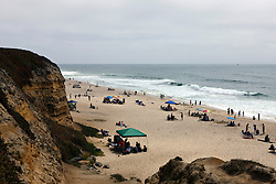View of Poplar Beach from top of cliffs, Half Moon Bay, California, United States of America