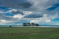 dramatic sky over a New Mexican ranch
