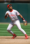 SAN FRANCISCO - 1995:  Barry Larkin of the Cincinnati Reds fields during an MLB game versus the San Francisco Giants at Candlestick Park in San Francisco, California during the 1995 season. (Photo by Ron Vesely).  Subject:   Barry Larkin