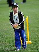Cricket Fan looks to bowl the ball at the National Bank's Cricket Super Camp , University oval, Dunedin, New Zealand. Thursday 2 February 2012 . Photo: Richard Hood photosport.co.nz