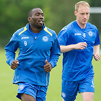 St Johnstone Training...Gregory Tade and Steven Anderson pictured during training<br /> Picture by Graeme Hart.<br /> Copyright Perthshire Picture Agency<br /> Tel: 01738 623350  Mobile: 07990 594431